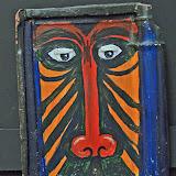 tijger, dakpan met acryl