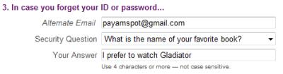 نمونه پر شده قسمت سوم فرم ثبت نام ایمیل یاهو
