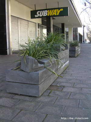 Broken concrete planters