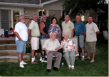 Kevin, Bob, Churck, Tammy, My Dad, Ken, Cory with Grandma and Grandpa Layton