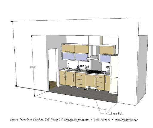 desain furniture kitchen set mungil sketch