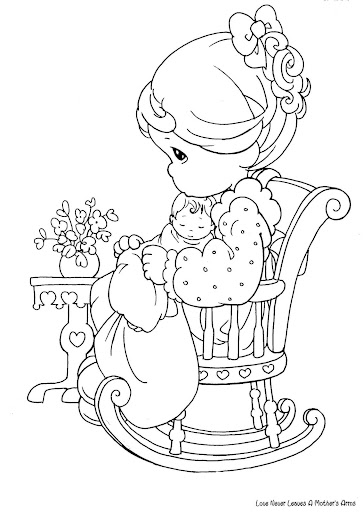 Coloring pages september 2010 for Mom and baby coloring pages