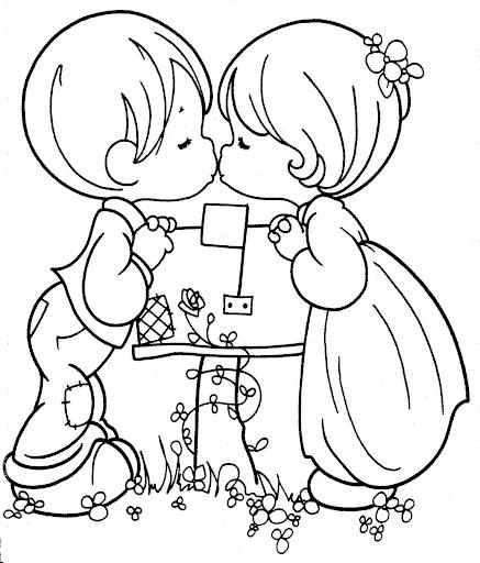 Kissing couple – precious moments free printable page ...