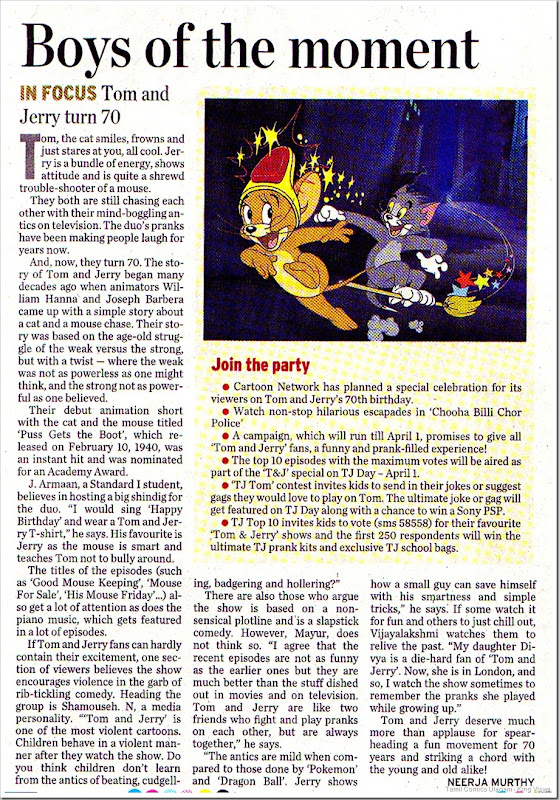 The Hindu Dated 16032010 Metro Page 1 Tom n Jerry Turn 70