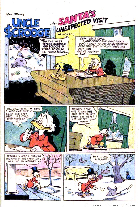 Gold Key Issue No 137 Walt Disney Uncle Scrooge Dated Feb 1977 Page 25 Santa's Unexpected Visit Mini Lion Christmas Kanavugal
