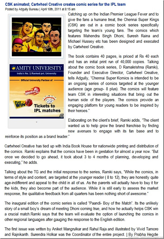 AdGully Media Report on CSKomics Dated 18042011
