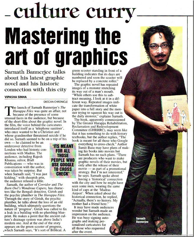 Deccan Chronicle Chennai Chronicle Dated 25042011 Page 20 Harappa People Graphic Novel