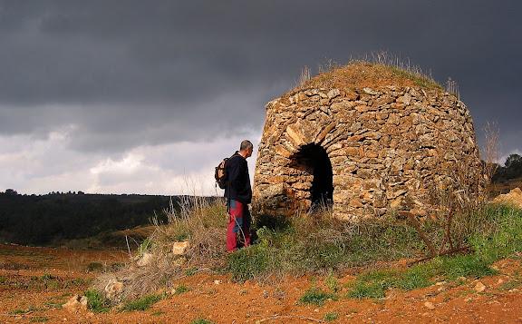 Barraca de pedra seca al peu de la tossa Gran de Montferri,  Montferri, Alt Camp, Tarragona 2003.02.24