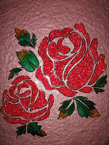 crystal glass painting beautiful red roses calligraphy