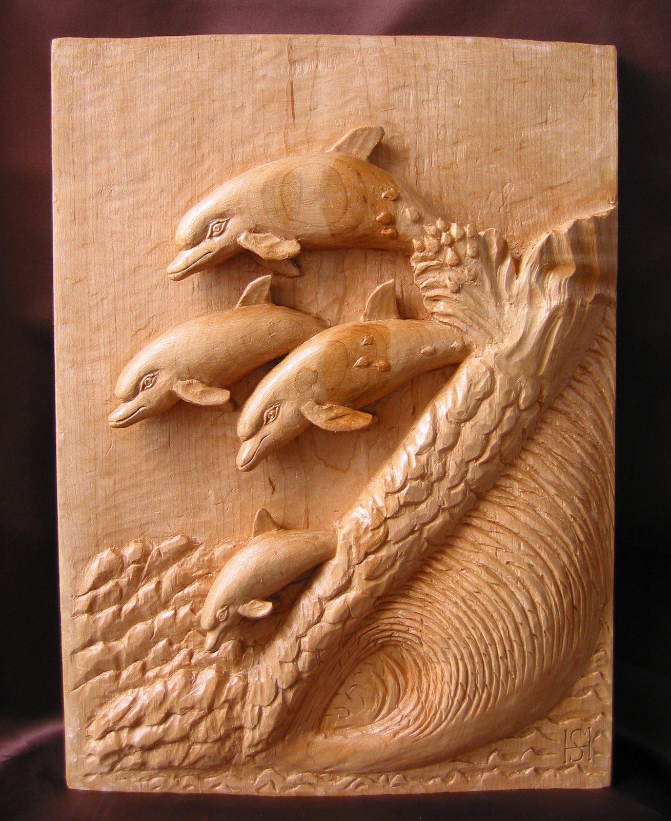 Delfines talla en madera wood carving esculturas for Fotos en madera