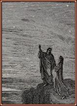 Gustave Doré. Ya en el exterior se detienen y nuevamente contemplan las estrellas. Grabado
