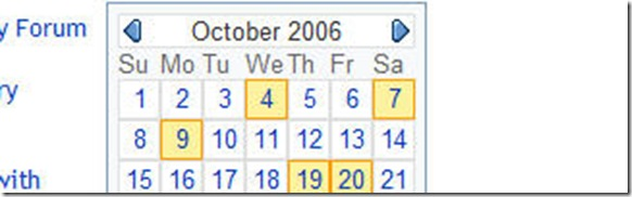 Selecting Dates in Calendar