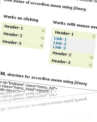 How to make accordion menu using jquery