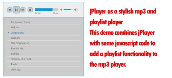 jPlayer as a stylish mp3 and playlist player