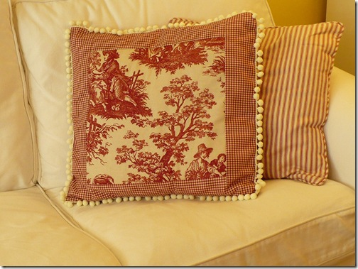 toile and gingham pillow