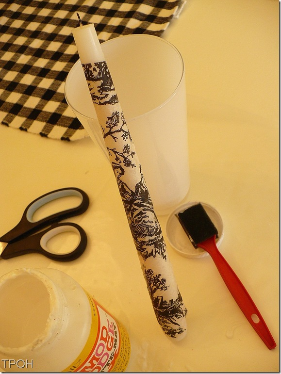 decoupaged toile candle drying