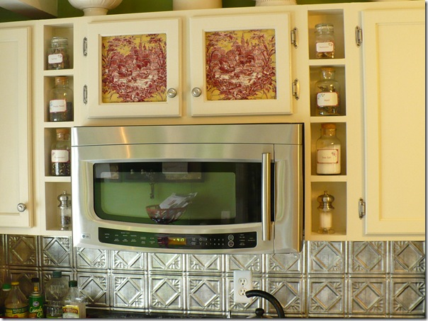la petite ferme fabric and chicken wire on cabinet