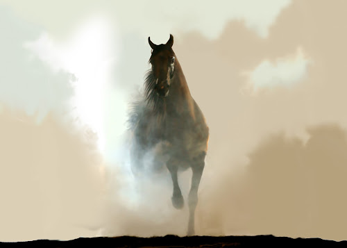 Misty Horse by Charlie Alolkoy - Illustration Animals (  )