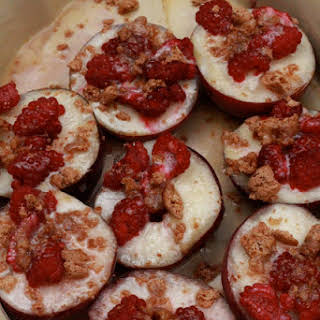 Baked White Peaches with Raspberries and Amaretti.
