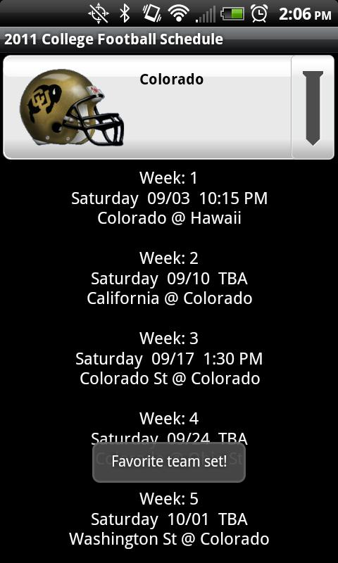 College Football Helmet Sched - screenshot