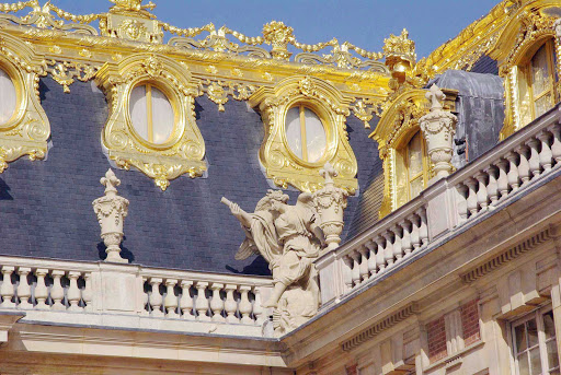 palace-of-versailles-detail-france - A corner detail of the 1700s ode to opulence, the Palace of Versailles in France.