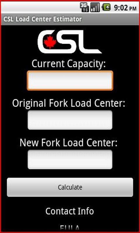 CSL Load Center Estimator - screenshot