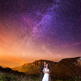 Into the Stars by Marius Igas - Wedding Bride & Groom ( wedding photography, mountains, wedding, stars, night, bride, groom, milky way )