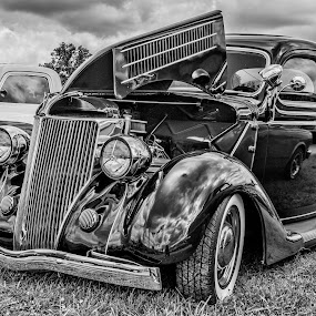by Becky Kempf - Black & White Objects & Still Life ( car, black and white, cloudy,  )