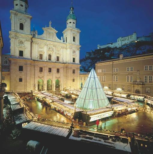 christmas-market-in-salzburg - Christmas market in Salzburg, Austria, during the winter.