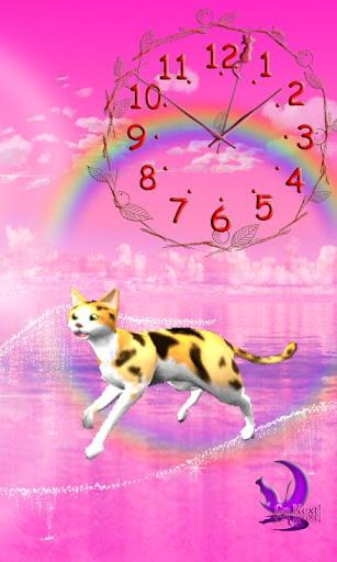 走る!猫ライブ壁紙 三毛猫お洒落アナログ時計付き