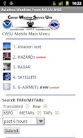 Screenshot of Aviation Weather from NOAA/NWS