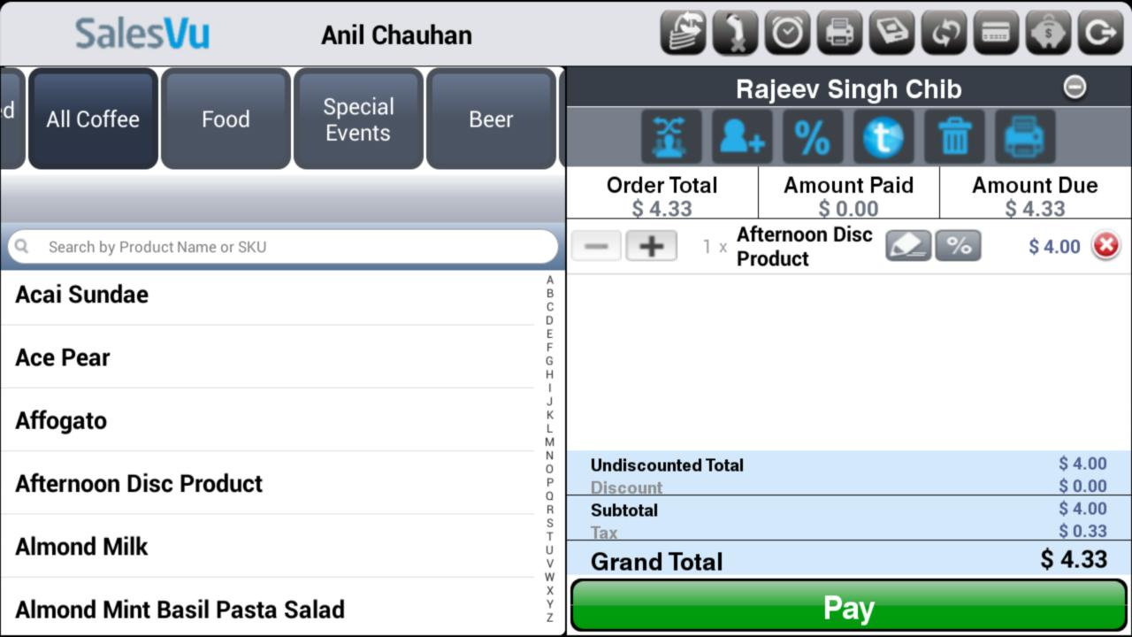 SalesVu Android POS - screenshot
