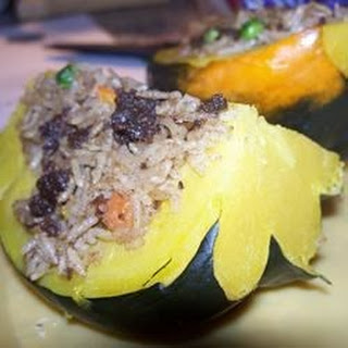 Venison and Wild Rice Stuffed Acorn Squash.
