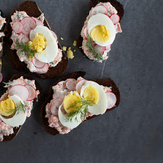Open-Faced Sandwich with Dilly Trout Pate, Radish + Warm Hard-Boiled Egg.