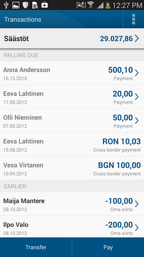 Nordea Mobile Bank – Finland - screenshot