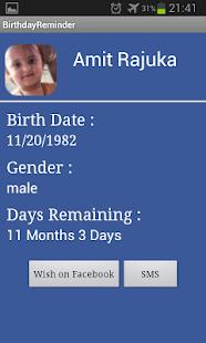 Birthday Calendar - screenshot thumbnail