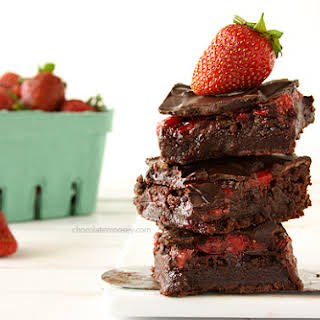 Chocolate Covered Strawberry Brownies.