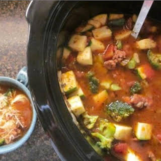 Hearty Sausage & Tortellini Soup.