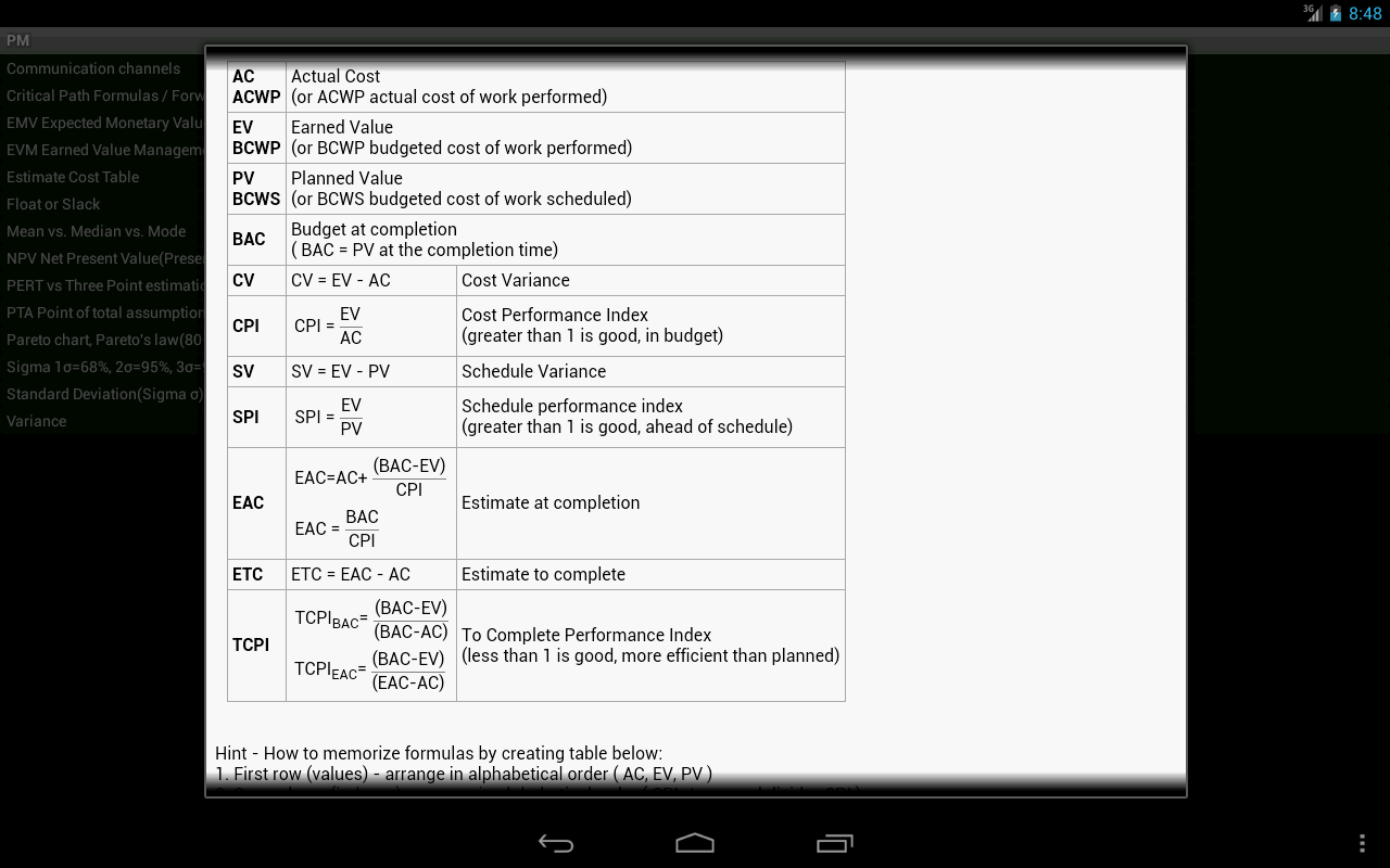 Pm formulas for pmp exampro android apps on google play pm formulas for pmp exampro screenshot 1betcityfo Image collections