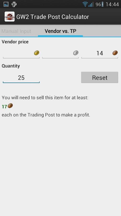 Guild Wars 2 TP Calculator- screenshot