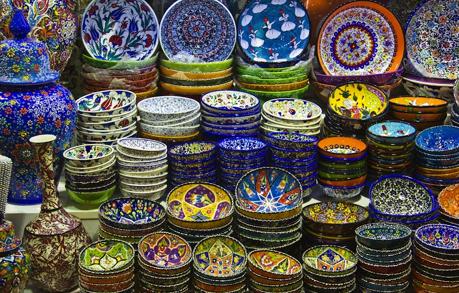 Colorful Dishes of Istanbul... by Avishek Patra - Artistic Objects Cups, Plates & Utensils ( dish, bowl, plates, decorated dishes, colorful, ceramic, turkey, istanbul, china bowl, grand bazaar, utensils, , mood factory, vibrant, happiness, January, moods, emotions, inspiration )