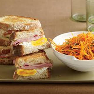 Ham, Egg and Cheese Sandwiches with Carrot-Parsley Salad.