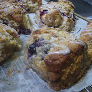 Maple Oatmeal Berry Scones with Maple Bourbon Drizzle.