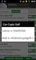 Screenshot of swing golf, campos y asistente