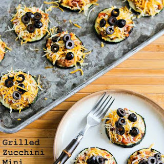 Grilled Zucchini Mini Tostadas with Refried Beans