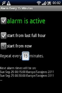 Alarm every 15 minutes - screenshot thumbnail