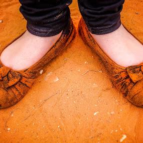 Hiking Shoes?  by Nicole Mitchell - Artistic Objects Clothing & Accessories ( shoes, st. george, utah, red sand, hiking, red cliffs )
