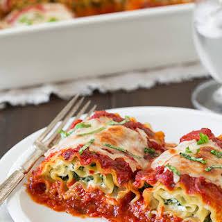 Spinach Four Cheese Lasagna Roll Ups.