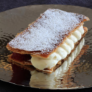 Mille Feuille with Vanilla Cream, Raspberry, and Green Apple