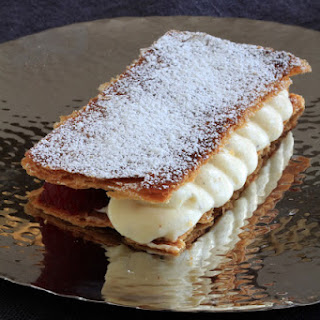 Mille Feuille with Vanilla Cream, Raspberry, and Green Apple.
